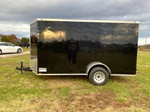 Single Axle Enclosed Trailer Single Axle Enclosed Trailer. 6x12 black enclosed trailer
