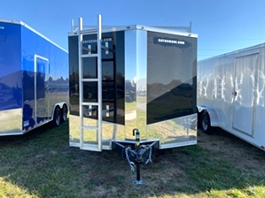 Enclosed Trailer With Ladder Racks Enclosed Trailer With Ladder Racks. Ladder racks roof mounted, mag wheels, and chrome trim package.