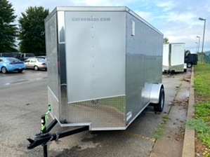 Enclosed Trailer Silver  Enclosed Trailer Silver. Silver color single axle enclosed trailer